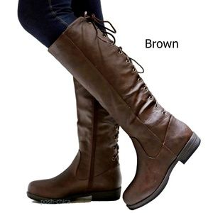Shoes - New Brown Lace Up Western Knee High Riding Boots